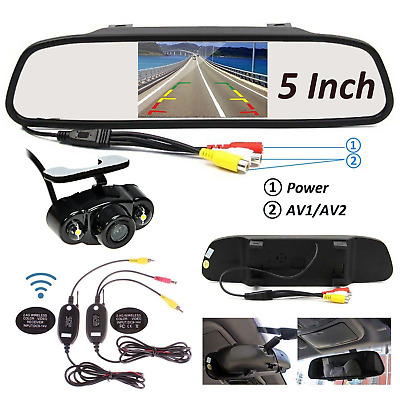 "5"" LCD Mirror Monitor + Wireless Car Rear View Reverse Parking Backup Camera Kit"