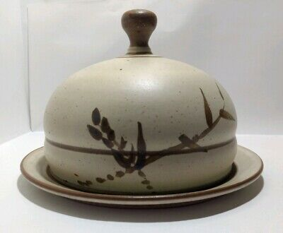 Stoneware Domed Butter/Cheese Dish Keeper Studio Art Pottery Round Signed CRIM