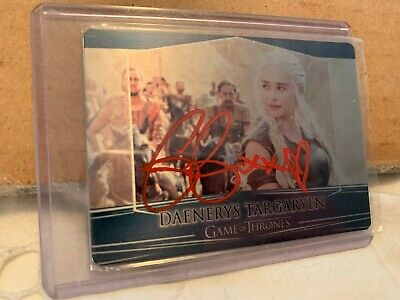 Emilia Clarke Signed Game Of Thrones 2017 Valyrian Steel Metal Card Autograph