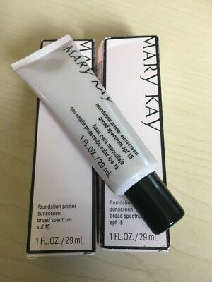 Lot Of 2 Mary Kay Foundation Primer Sunscreen Broad Spectrum SPF 15 EXP12/ 2018