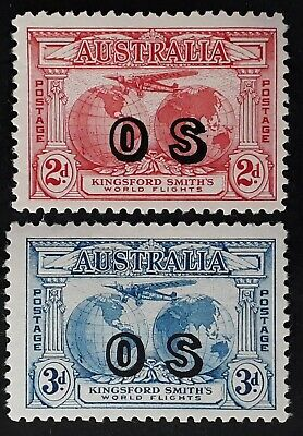 Rare 1931 Australia Set Kingsford Smith's Flight stamps OS O/P Mint with Certfte