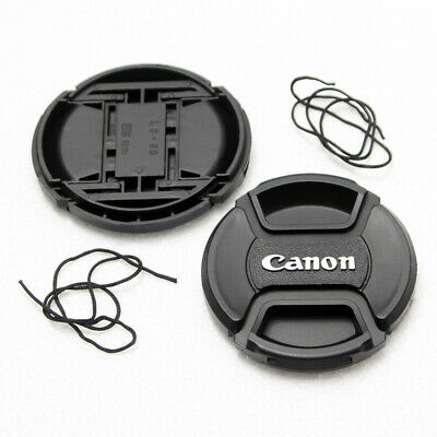 2X 52mm Front Lens Cap For Canon DSLR Lens Center-Pinch Snap-On With Cord NEW