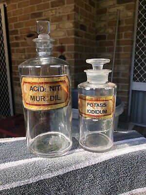 Antique Vintage Pair Of Chemist Dispensing Apothecary Jar Bottles With Stoppers