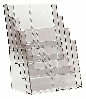 Taymar 4C230 Four Tier Display Stand for A4/DL Leaflets and Brochures - Clear