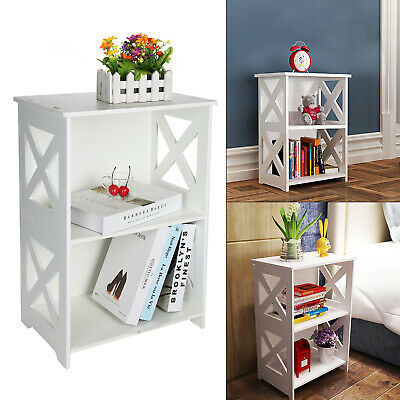 Modern Wood Plastic Plate End Side Table 2 Tier Small Table White Furniture New