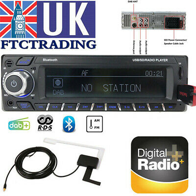 1Din DAB+ RDS Car Radio Bluetooth AM FM Hand USB Unit MP3 Player UK Set Stereo