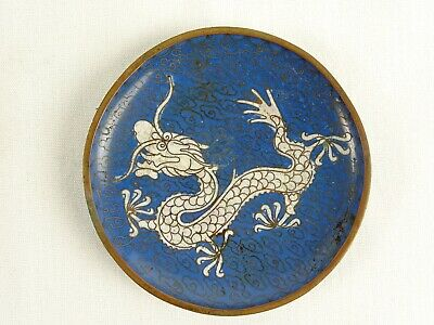 Antique Chinese Blue Ground Cloisonne Enamel on Copper Dish Dragon Motif