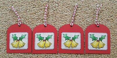 Handmade Cross Stitch Christmas Gift Tags - Bells
