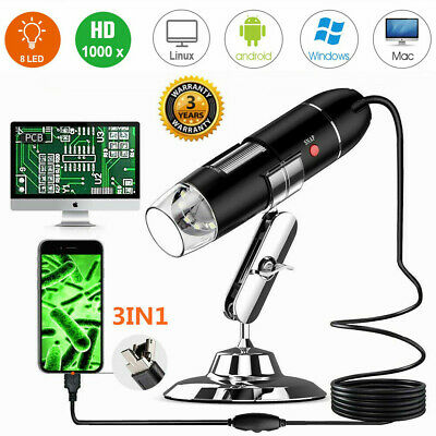 3IN1 Digital USB Microscope 50~1000x Magnification Endoscope1080P HD PC Android