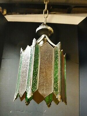 Antique Brass Art Deco Pendant Hanging Light Amber & Green colored/stained Glass