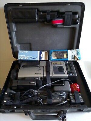 Sony Video 8 Pro Camera CCD V100E Working  Leads Battery Case Charger Vintage