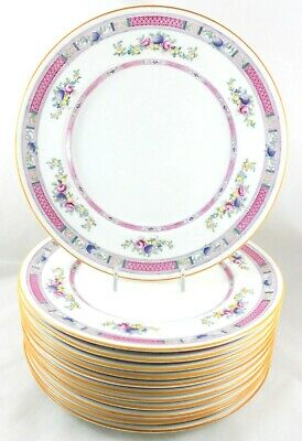 Set(S) 6 Dinner Plates Royal Doulton Bone China H1442 Pink Blue Flowers Fruits