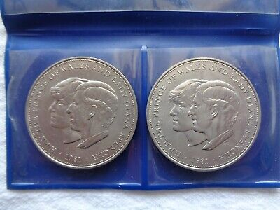 2 x Prince of Wales and Lady Diana Spencer 1981 Royal Wedding Coins