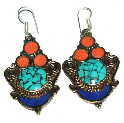 Coral,Turquoise,Lapis Gemstone Sterling Silver Nepali Tibetan Earrings Jewelry