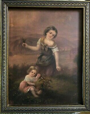 Antique Victorian Oil Painting On Metal Young Woman Little Girl Butterfly Frame