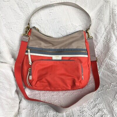 b4a3929975 Fossil Red Coral Leather Crossbody Shoulder Handbag Purse Organizer Beige  Canvas