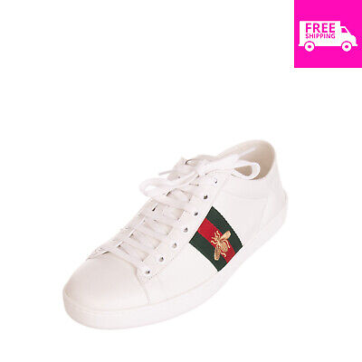 6cbe41a11 RRP €610 GUCCI Leather Ace Sneakers Size 39 UK 6.5 Embroidered Bee Made in  Italy
