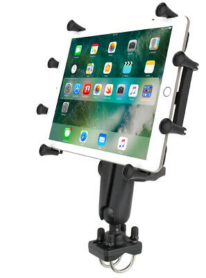 """RAM Double U-Bolt Rail 1.5"""" Ball Mount with X-Grip Holder for 9"""" - 10"""" Tablets"""