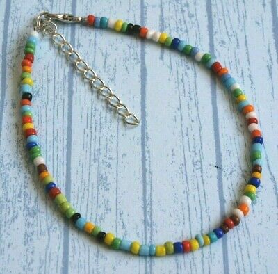 """Handmade Rainbow Opaque Seed Beaded Ankle Bracelet Anklet - 9"""" + Extension Chain"""