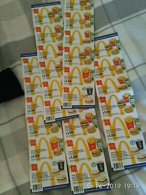 mcdonalds vouchers 5 strip 30 individual dated 26 may 2019