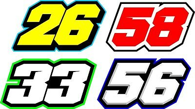 Motorcycle race numbers x3 high bond decals, Track day, Road Race, Karting