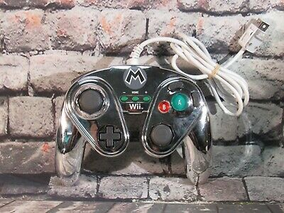 Metal Mario Nintendo Wii/Wii U Controller Silver PDP Wired Fight Pad