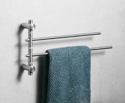 Bathroom Towel Rail Swivel Bars Holder Brushed Nickel SUS 304 Wall Hanger Shelf