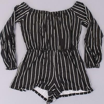 Boohoo Women's Petite Stripe Off The Shoulder Playsuit GS2 Black Size US:10 NWT
