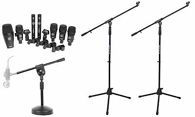 AKG Drum Set Session I 7) Microphones Bass/Overhead/Snare/Tom+Clamps+Case+Stands