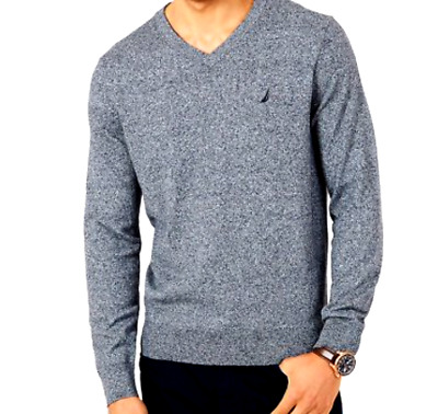 NAUTICA Navtech Sweater Mens XL Cotton Poly V-Neck Long Sleeves Blue NWT