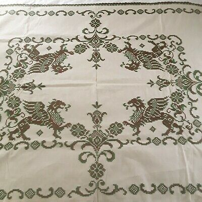 Vintage Linen Cross Stitched Tablecloth Gryphons Griffins Beige Green Brown