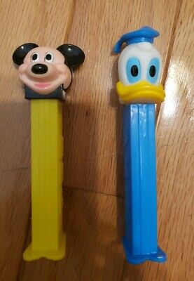 Rare PEZ Dispenser Disney  Vintage DONALD DUCK MICKEY MOUSE WITH FEET