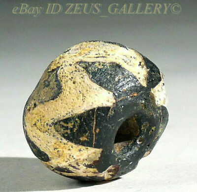 Ancient Black Glass Bead Zig-Zag Round Ex Bonhams Sale London UK 2004