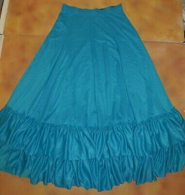 Flamenco Skirt Draw String Waist Double Ruffle Turquoise Dance Adult Size NWOT