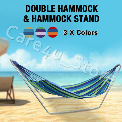 Outdoor Double Hammock Bed Stand Steel Swinging Camping Hanging Strap Garden