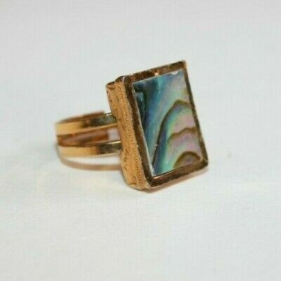 VINTAGE ART DECO to 1950s LARGE ABALONE GOLD PLATED RING