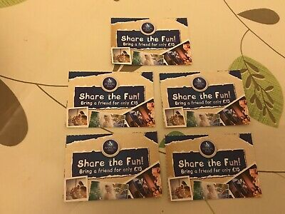 5 X Merlin Annual Pass Share The Fun Vouchers Thorpe Alton Towers Chessington