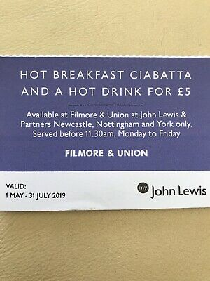 JOHN LEWIS COUPON VOUCHER Hot Breakfast Newcastle Nottingham  York ONLY