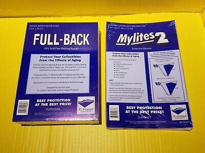 50 Mylites2 Gold/Silver (775M2) & 50 Fullback Boards (750Fb) Free Ship! E.gerber