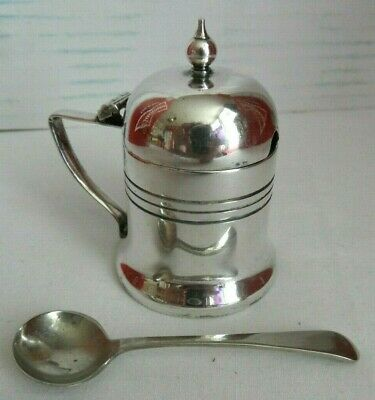Vintage Silver Plated Lidded Mustard Pot with Cobalt Blue Glass Liner + Spoon
