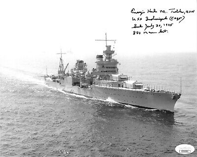 Harlan Twible signed WWII 8x10 Photo USS Indianapolis Survivor July 10 1945-JSA