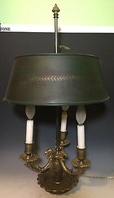 Bronze French Empire Style 3 Arm Bouillotte Lamp
