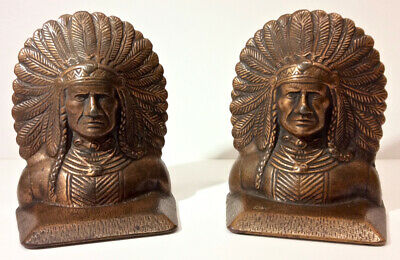Antique Native American Indian Chief Bookends, Cast Iron, Copper Clad, c. 1920s