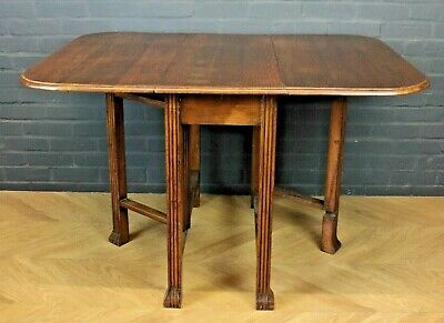 Antique 1930's Art Deco Oak Gate Leg Drop Leaf Kitchen Table Dining Table