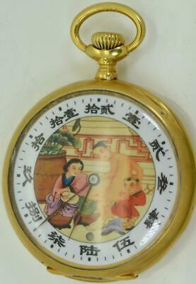 Qing Dynasty Chinese 18k gild silver LONGINES watch. Erotic dial,DIGITAL SECONDS