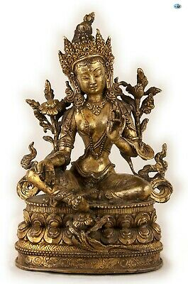 Antique Tall Heavy 1800s Chinese Female Goddess Buddha Gilded Bronze Statue