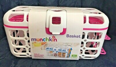 NEW...Munchkin High Capacity Dishwasher Basket...Pink / White