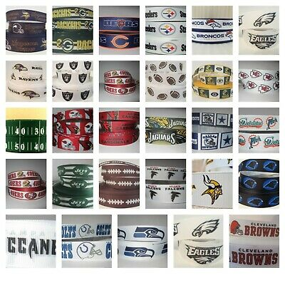 Nfl Football 7/8 Inch Grosgrain Ribbon For Hair Bows Crafts Cowboys Bears Colts
