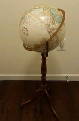 Repologle 12 Inch World Classic Globe on wood floor stand.