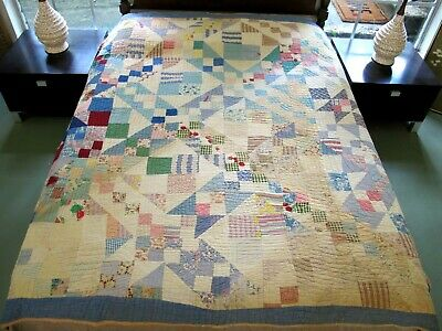 """Vintage Antique Feed Sack Hand Sewn JACOB'S LADDER Thick Quilt; 79"""" x 67"""""""